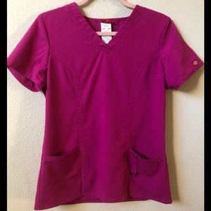Dickies Fitted Scrub Top Size Small Hot Pink